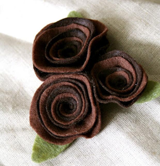 Розы из фетра