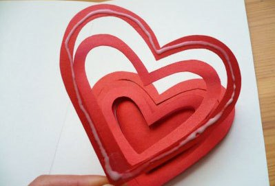 Открытка с объемным сердечком