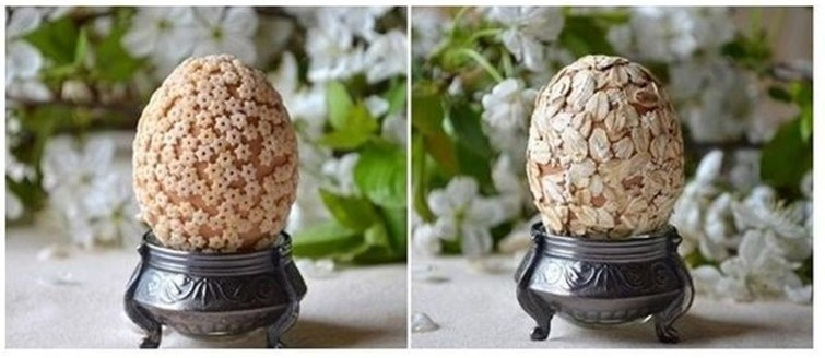 Декорируем яйца крупой
