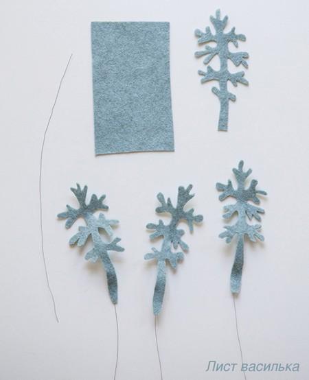 Листья васильков из фетра