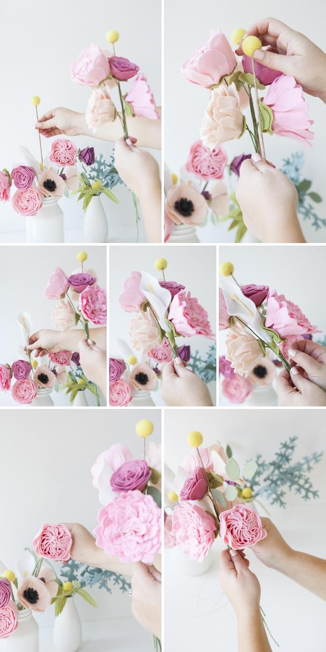 Как сделать букет из фетра своими руками 2