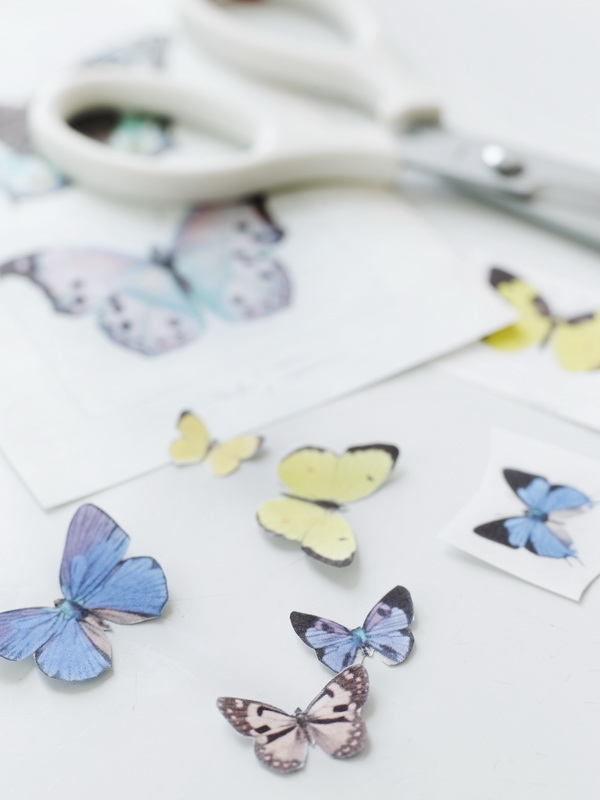Композиция из бабочек на ветках